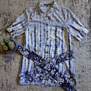 Peter Som Blue Tie Dye Shirt With Tie 2